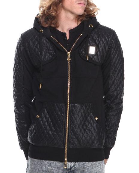 Forte' Black Quilted Fleece Zip-Up Hoodie