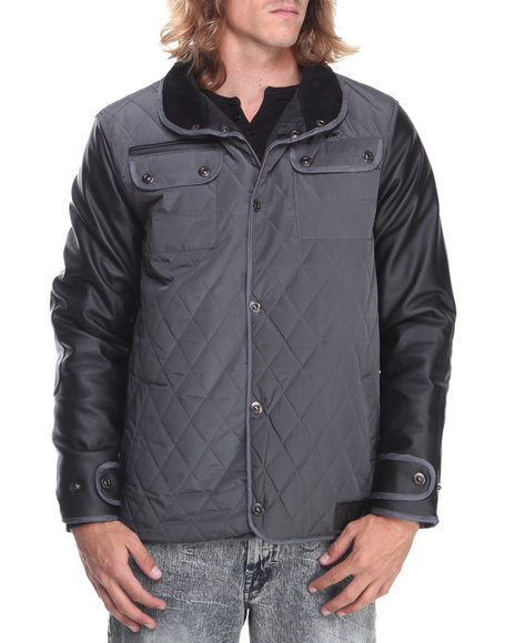 Rocawear - Men Black,Grey Quilted Nylon Jacket