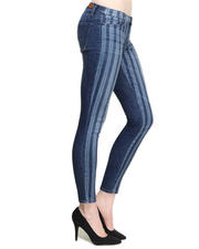 Skinny - Low Rise Stripe Front Solid Back Skinny Jean