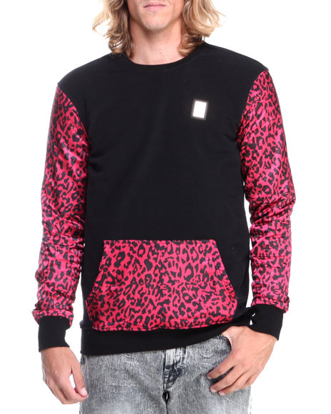 Forte' - Men Black Cheetah Silk - Sleeve Crewneck Sweatshirt