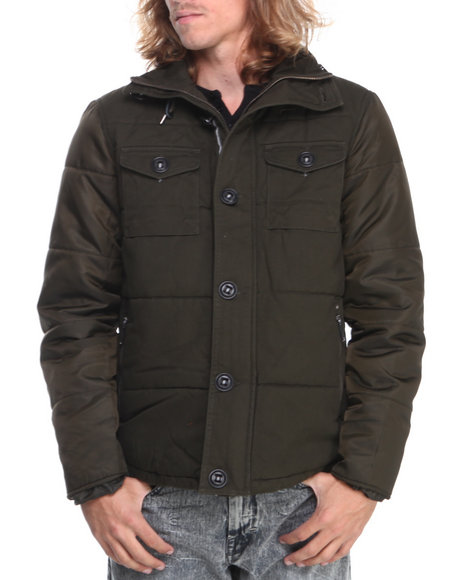 - Men Green Steve Madden Cotton Nylon Double Pocket Jacket