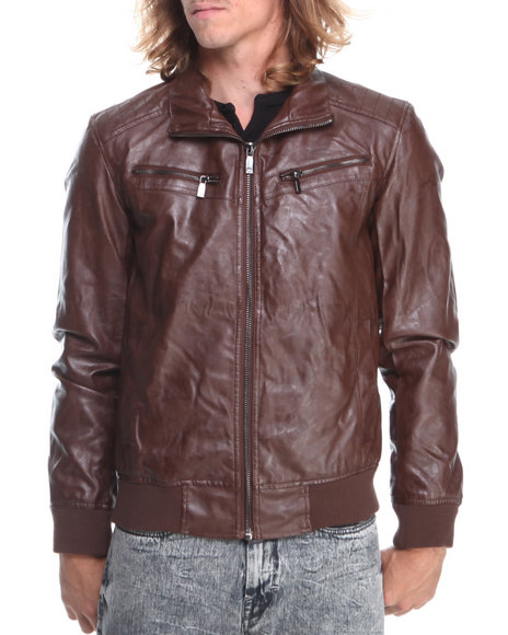 - Brown Pu Moto Jacket