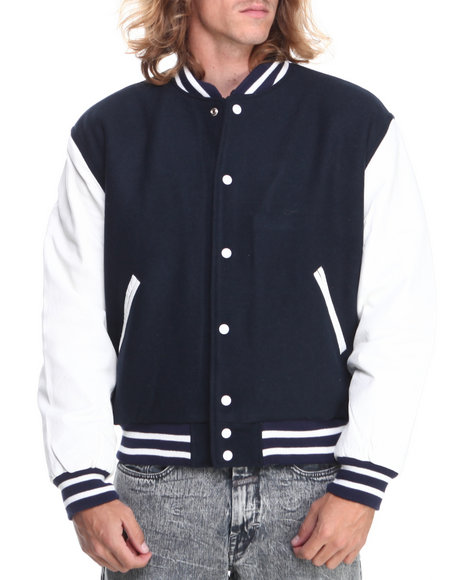 Drj Leather Shoppe - Men Navy Premium Wool Blend Baseball Bomber Jacket With Genuine Leather Sleeves