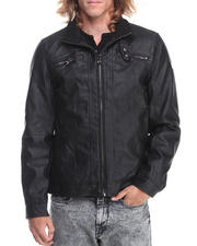 Men - Faux Leather Moto Jacket
