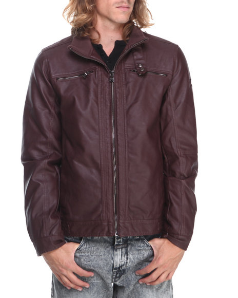 English Laundry - Men Maroon Faux Leather Moto Jacket