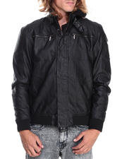 English Laundry - Faux Leather Jacket w/ Detachable Fleece hoody