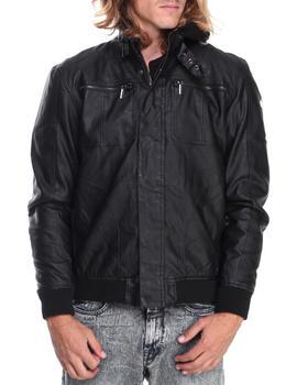 English Laundry - Faux Leather Jacket w/ Detachable Fleece hoody