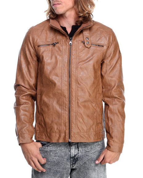 English Laundry Tan Faux Leather Moto Jacket
