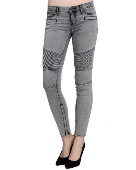 Ditto's - Women Grey Hit The Pavement Acid Wash Moto Skinny Jean