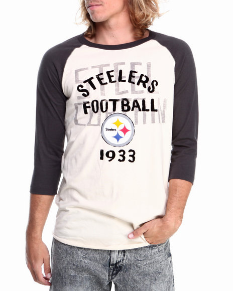 Nba, Mlb, Nfl Gear - Men Off White Pittsburgh Steelers Rooxie Raglan Shirt