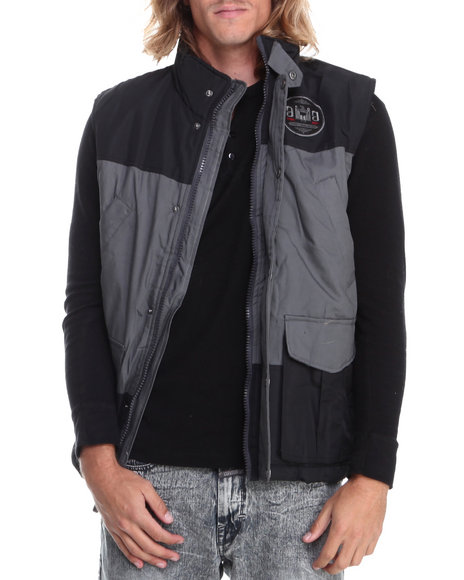 Rocawear - Men Black,Grey Canvas Nylon Vest