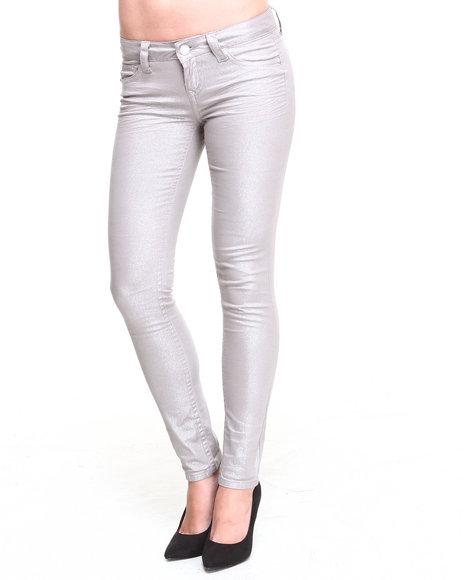 Wallflower - Women Tan Frosty Metallic Finish Skinny Jean