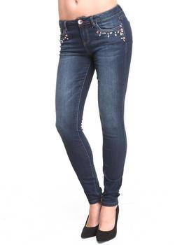 KENSIE - Embellished Jewel Front Skinny Jean