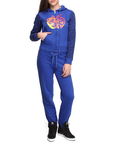 Apple Bottoms - Women Blue Cheetah Print Sleeves Logo Active Set