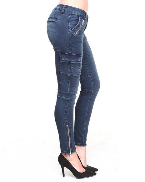 KENSIE Medium Wash Cargo Denim Zip Trim Skinny Jean