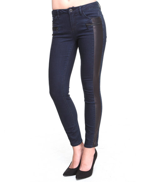 KENSIE - Coated Denim Vegan Leather Trim Moto Skinny Jean