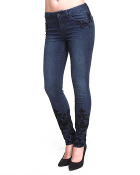 KENSIE - Engineered Flock Print Ankle Biter Skinny Jean