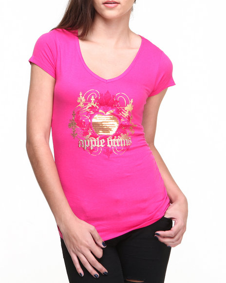 Apple Bottoms - Women Pink Sequin Apple Logo Tee