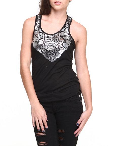 Rampage Black Foil Lace Print Hot Tank
