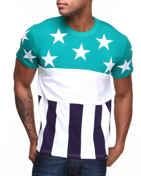 Hudson Nyc - Men Turquoise Flag S/S Tee