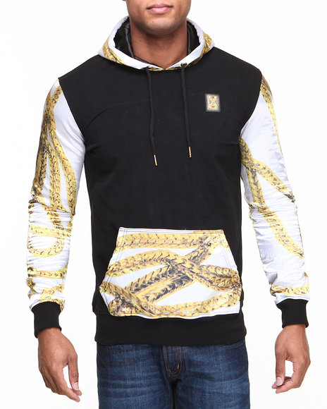 Forte' - Men Black Chain Silk - Sleeve Hoodie