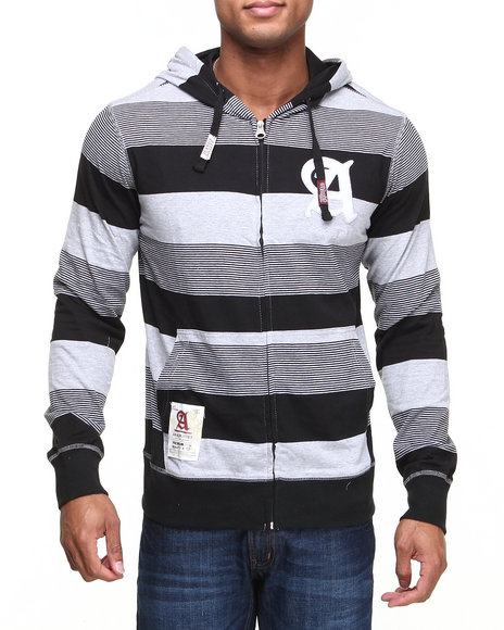 Akademiks - Men Black Windsor Stripe Full Zip Hoodie W/ Felt Applique