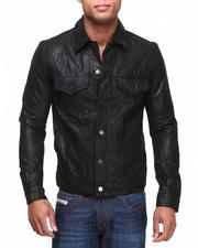 DRJ Leather Shoppe - Premium Coated Genuine Leather Trucker Jacket