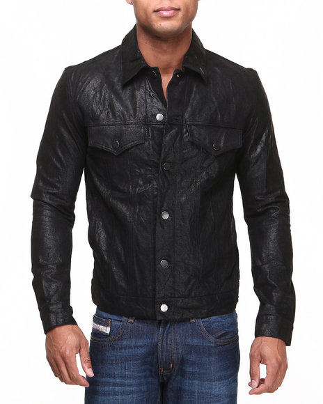 Drj Leather Shoppe - Men Black Premium Coated Genuine Leather Trucker Jacket