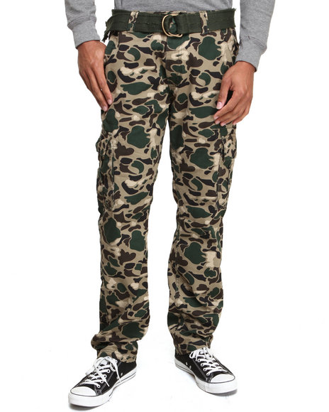 Buyers Picks - Men Olive Camo Washed Bubble Belted Cargo Pant