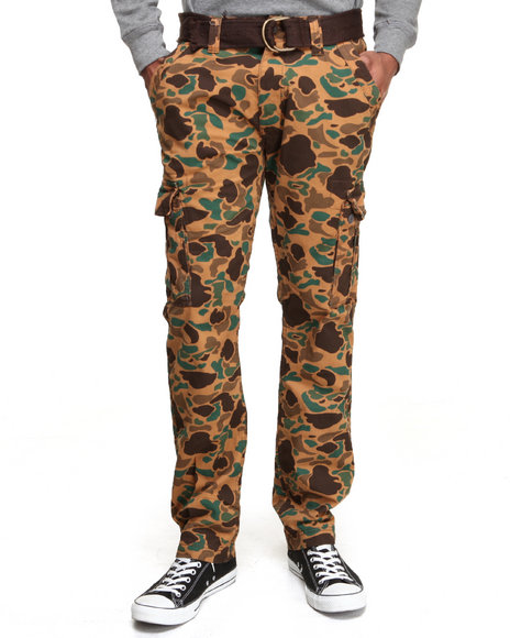 Buyers Picks - Men Brown Camo Washed Bubble Belted Cargo Pant