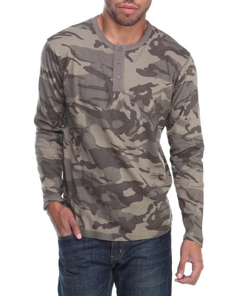 Buyers Picks - Men Camo All-Over Camo Henley L/S Shirt
