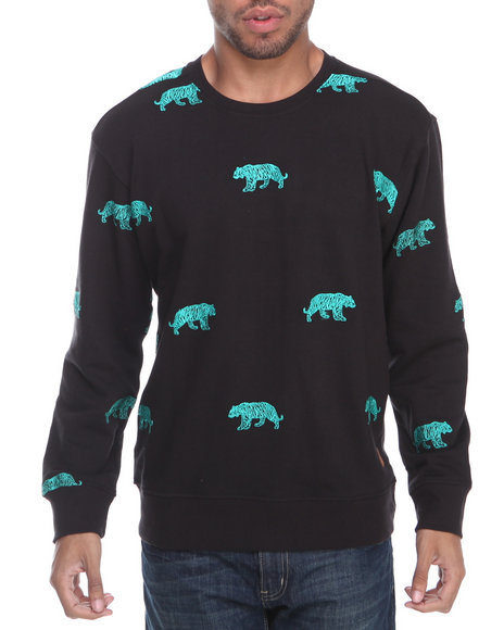 Buyers Picks - Men Black Tiger Embroidery Crewneck Sweatshirt