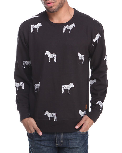 Buyers Picks - Men Black Zebra Embroidery Crewneck Sweatshirt