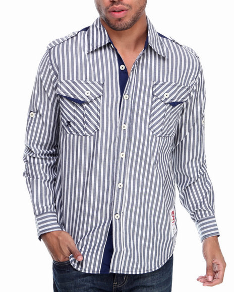 Akademiks Navy Button-Downs