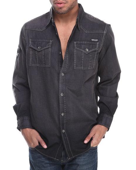 MO7 Black Sandblasted L/S Button Down Shirt W/ Patch Detail