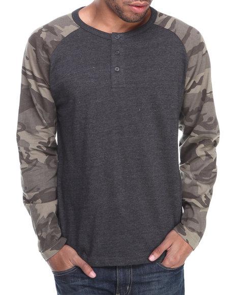 Buyers Picks - Men Grey Henley Camo L/S Shirt