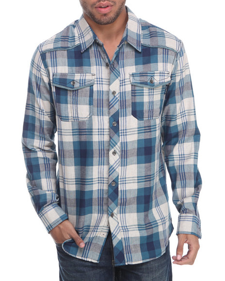 MO7 Blue Double Faced L/S Button Down Shirt