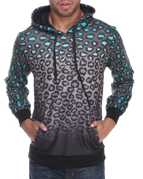 Buyers Picks - Men Grey Leopard Pullover Fleece Sweatshirt