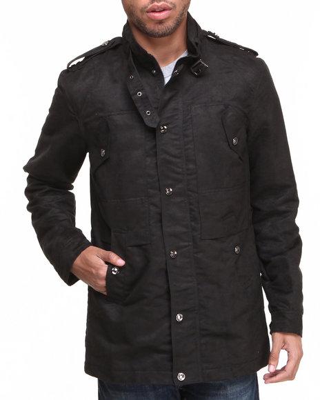Buyers Picks - Men Black Moda Essentials Faux Suede Military Jacket