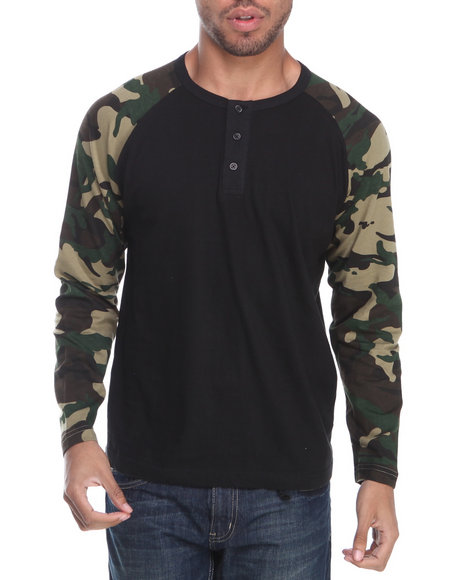 Buyers Picks - Men Black Henley Camo L/S Shirt