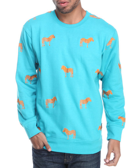 Buyers Picks - Men Teal Zebra Embroidery Crewneck Sweatshirt
