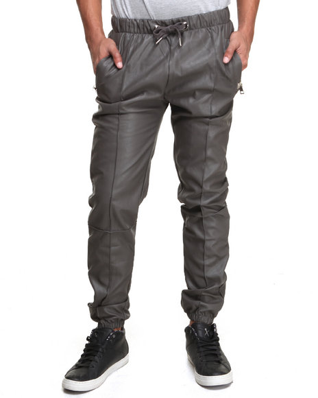 Forte' Grey Faux Leather Jogging Pants