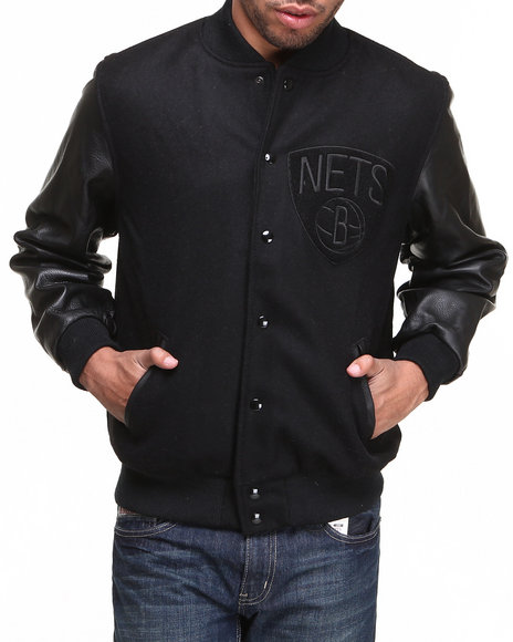 Nba, Mlb, Nfl Gear - Men Black Brooklyn Nets Nba Wool/Leather Varsity Jacket