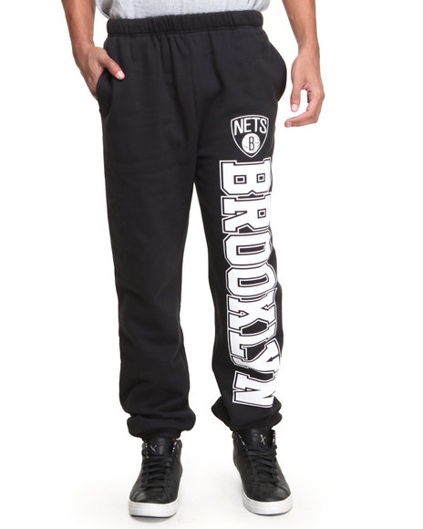 Ur-ID 222853 NBA, MLB, NFL Gear - Men Black Brooklyn Nets Nba Sweatpants
