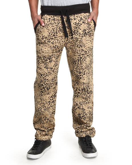 Buyers Picks - Men Khaki Leopard Print Fleece Sweat Pants