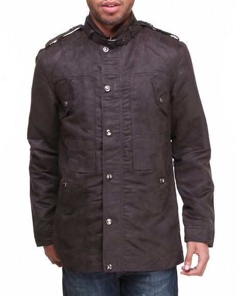 Buyers Picks - Men Charcoal Moda Essentials Faux Suede Military Jacket