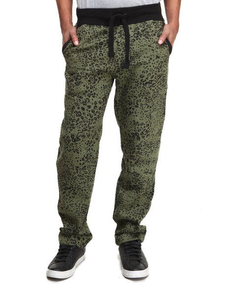 Buyers Picks - Men Olive Leopard Print Fleece Sweat Pants