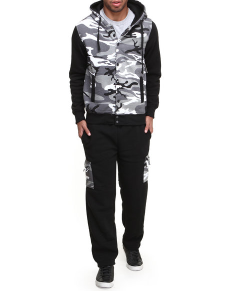Buyers Picks - Men Camo,Black Domino Lux Heavyweight Baseball Hoody Fleece Set