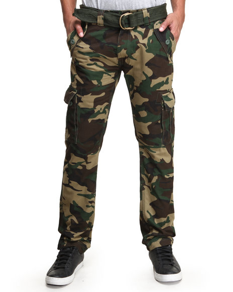 Buyers Picks - Men Camo Belted Washed Camo Cargo Pants