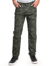 Jeans & Pants - All-Over Camo Print Slim/Straight Twill Pants